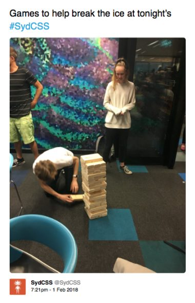 People playing Giant Jenga at SydCSS
